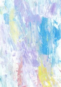 다채로운 팔레트 나이프 그림 질감. 보라색, 분홍색, 노란색, 흰색, 파란색 색상 배경.