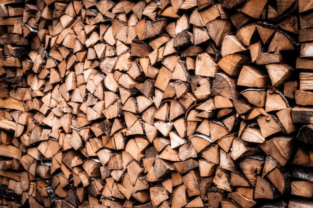 Textured firewood background of chopped wood for kindling and heating the house