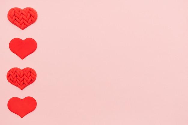 핑크, 상위 뷰에 플라스 티 신으로 만든 질감 된 마음