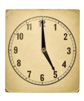 5時を示す織り目加工の古い紙の時計の文字盤