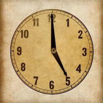 Textured old paper clock face showing 5 o'clock