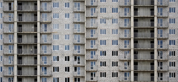 Textured pattern of a russian whitestone residential house