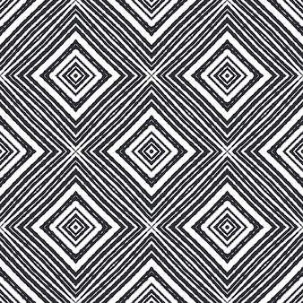 テクスチャードストライプパターン。黒の対称的な万華鏡の背景。トレンディなテクスチャードストライプデザイン。テキスタイル対応の貴重なプリント、水着生地、壁紙、ラッピング。