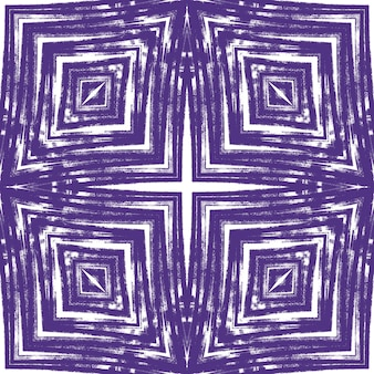 テクスチャードストライプパターン。紫の対称的な万華鏡の背景。テキスタイルレディアーティスティックプリント、水着生地、壁紙、ラッピング。トレンディなテクスチャードストライプデザイン。