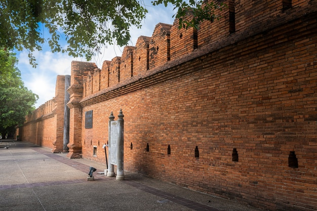 Tha phae gate chiang mai old city ancient wall and most popular travel destination and attraction for tourist in chiang mai northern thailand.