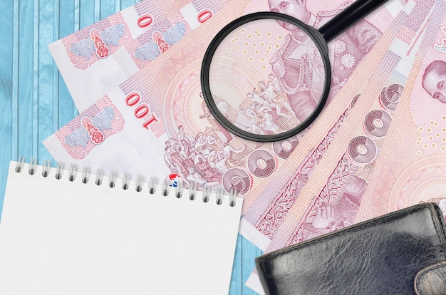Thai baht bills and magnifying glass with black purse and notepad
