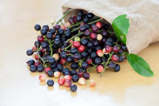 Thai blueberry on wooden background