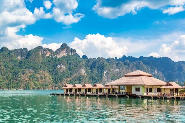 Thai bungalows at cheow lan lake, khao sok national park in thailand