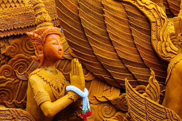 Thai carving wax angel for candle festival