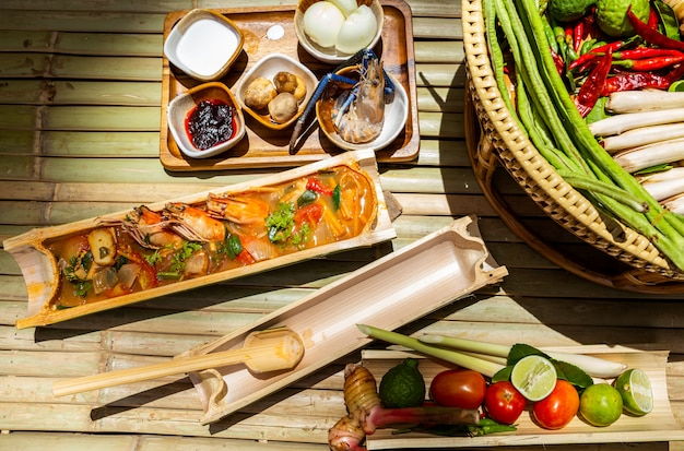Thai cooking tom yum shrimp
