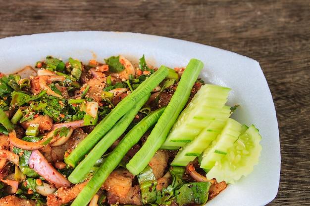 Thai cuisine spicy pork salad