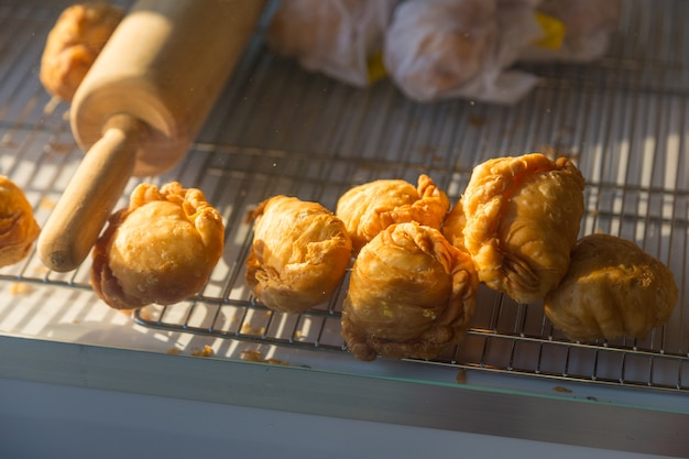 Thai curry chicken puff, traditional snack