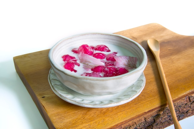 Thai dessert call tub tim krob make by water chestnut and serve with coconut milk