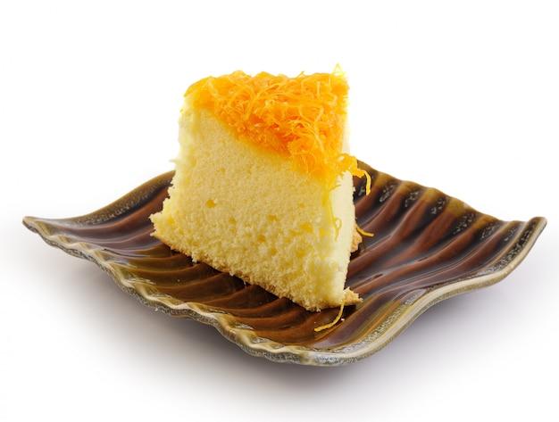 Thai dessert,foy thong cake on ceramic plate