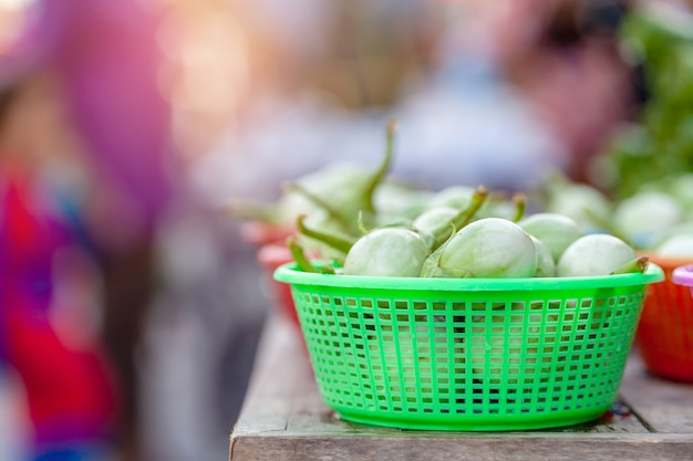 Thai eggplant in market,vegetable,product of agriculture,ingredient for cooking food.