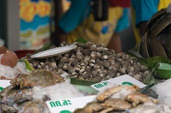 海産物の貝の通りの食糧市場のタイのエキゾチックな食べ物