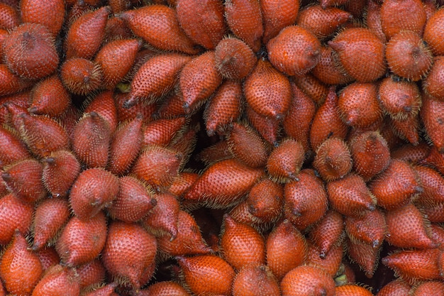 Thai exotic fruits (salak) in market. like the charming people