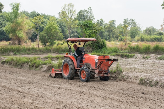 Thai farmers are using a tractor to prepare the soil for growing rice.