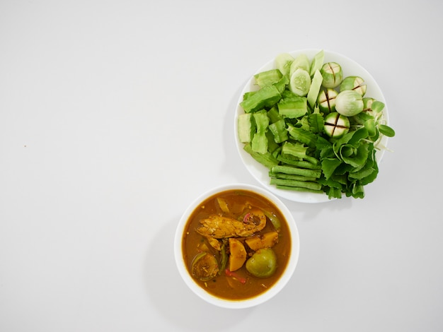 Thai fish organs sour soup and vegetables