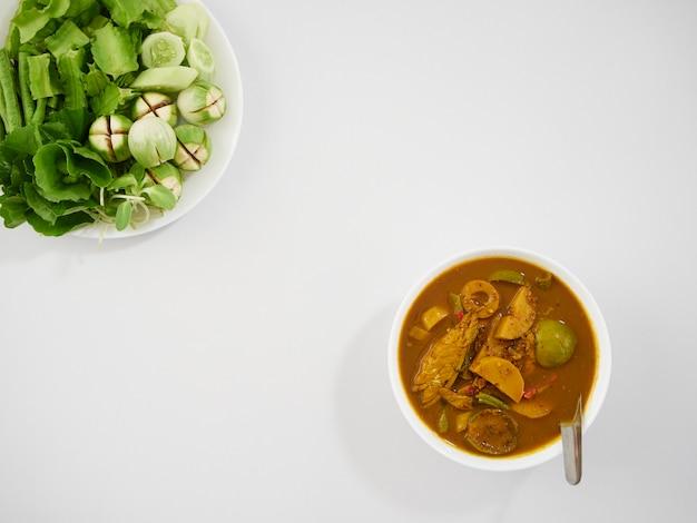 Thai fish organs sour soup and vegetables