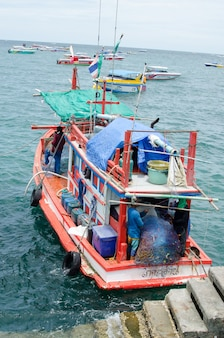 Thai fishermen sorting day capture at ko lan port and fishing village