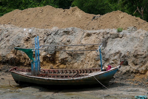 Thai fishing boat used as a vehicle for finding fish in the sea