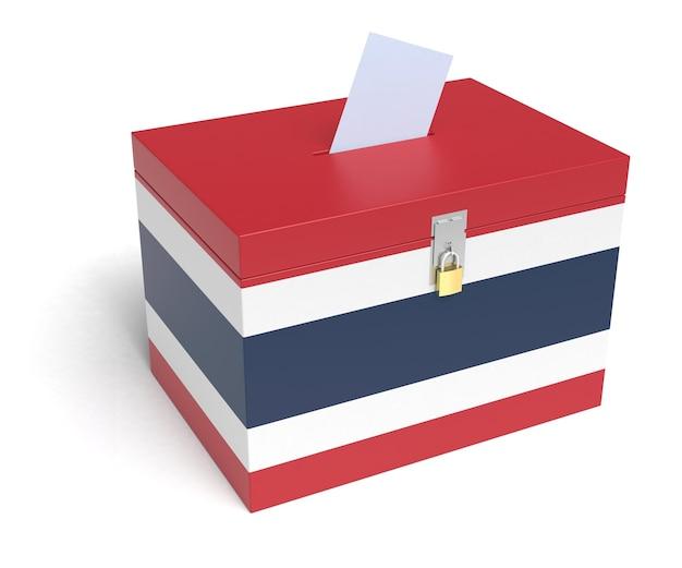 태국 국기 투표함. 격리 된 흰색 배경입니다. 3d 렌더링.