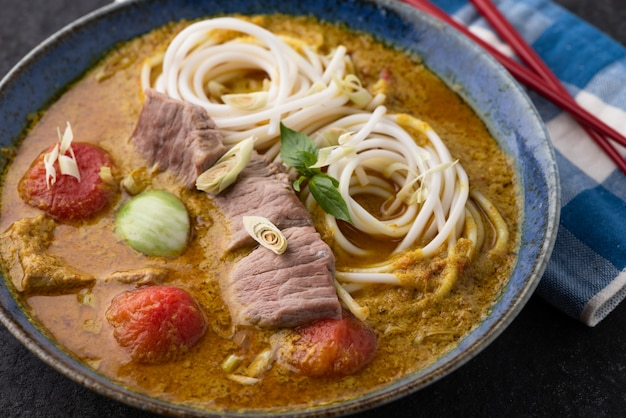 Thai food noodle with green curry