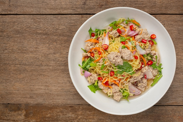 Thai food. noodles spicy salad with minced pork