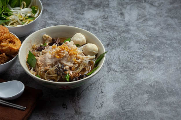 Thai food. noodles with pork, meatball and vegetable