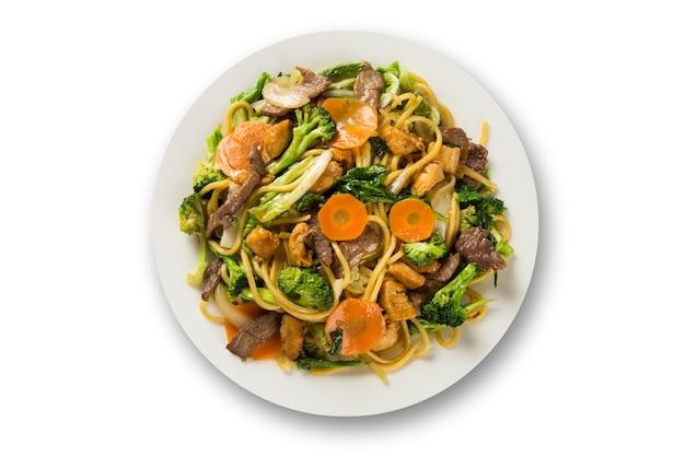 태국 음식 팟 타이, 새우와 야채를 곁들인 볶음 국수