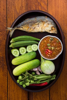 Thai food, shrimp paste with fried mackerel and vegetable