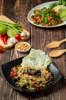 Thai food;som tum or papaya salad