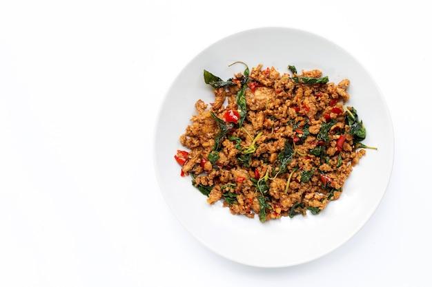 タイ料理。豚ひき肉とバジルの葉の炒め物