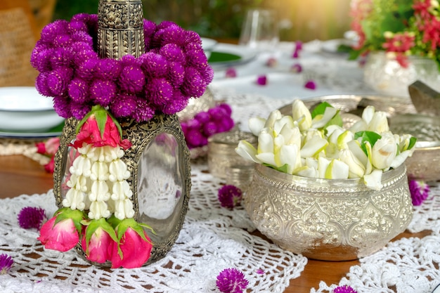 Thai food table decoration silver ware garland