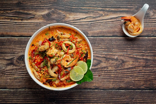 Thai food; tom yum kung or river prawn spicy soup