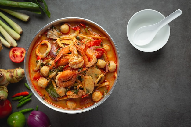 Thai food;tom yum seafood or seafood spicy soup