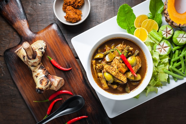 Thai food : the viscera of mackerel fish paunch hot spicy curry or fish organs sour soup.