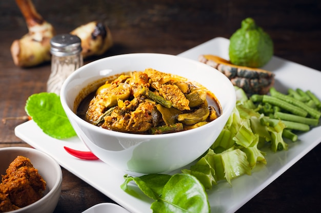 Thai food : the viscera of mackerel fish paunch hot spicy curry or fish organs sour soup