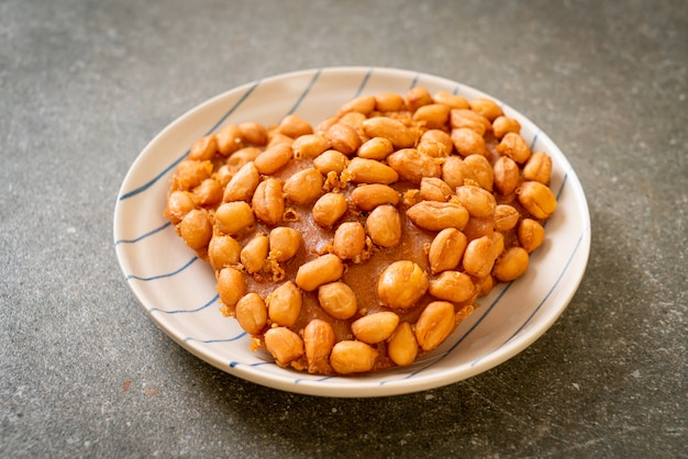 Thai fried peanut cookies on plate