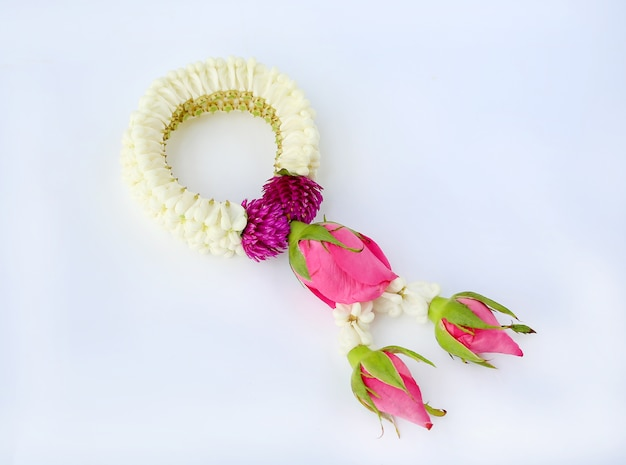 Thai garland for respect isolated on white background.