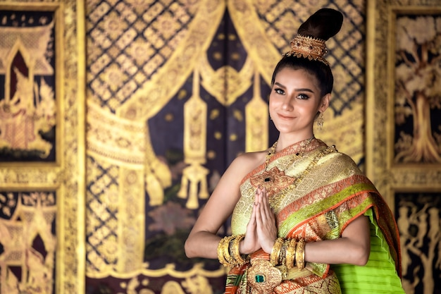 Thai girl in lady traditional culture thai costume,