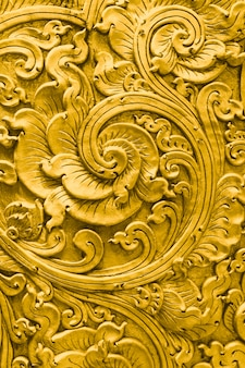 Thai gold pattern handcraft traditional culture fine art decoration in temple