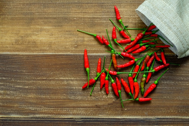 Thai hot chili on wood table.