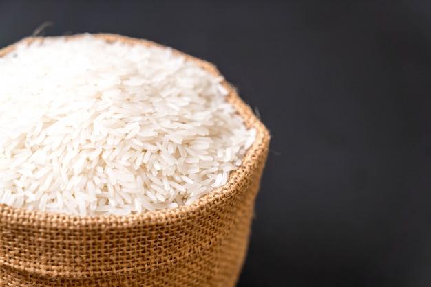 Thai jasmine rice in a fabric bag