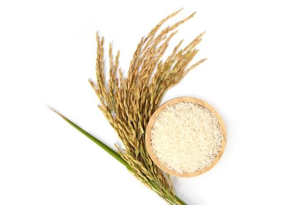 나무 그릇에 태국 재 스민 쌀 흰 쌀 분리