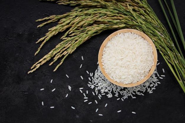 Thai jasmine rice white rice in wooden bowl