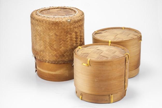 白のタイのラオス竹もち米容器