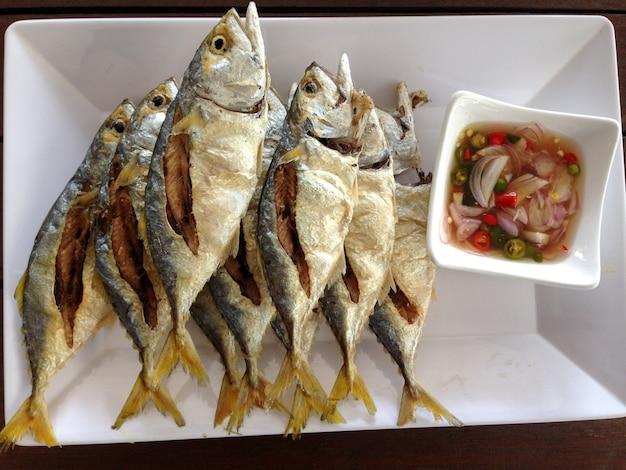 Thai mackerel fried with fish sauce.