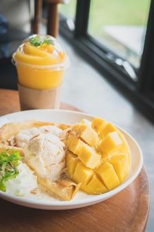 Thai mango crepe with ice cream in dessert restaurant.